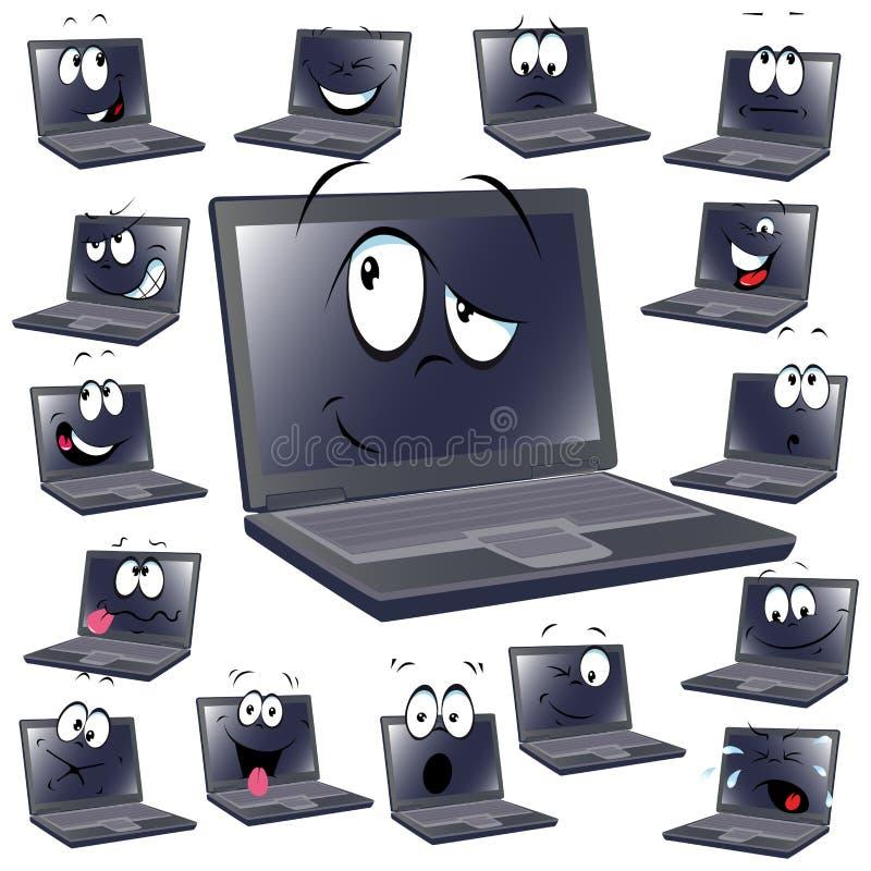 Historieta de la computadora portátil ilustración del vector