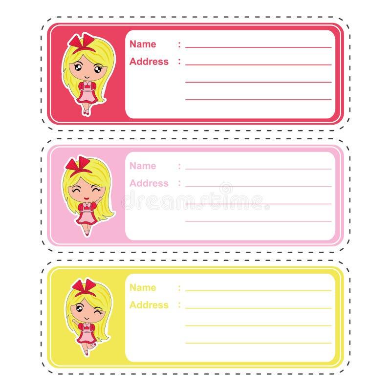Historieta de la etiqueta de dirección con la muchacha linda en el fondo colorido conveniente para el diseño de la etiqueta de di ilustración del vector