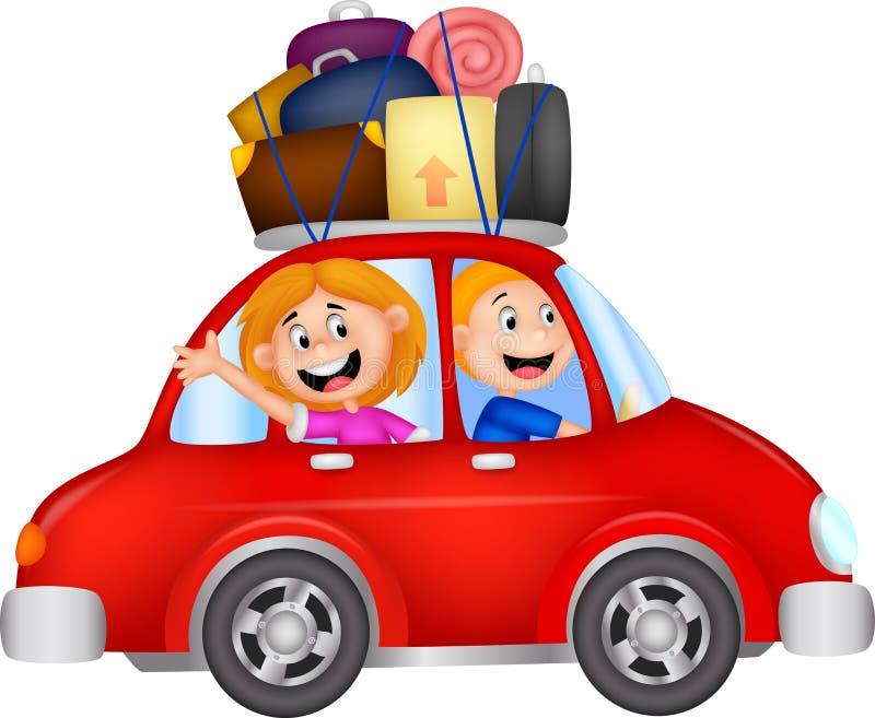 Historieta de la familia que viaja con el coche libre illustration