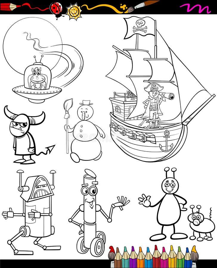 Historieta de la fantasía fijada para el libro de colorear ilustración del vector