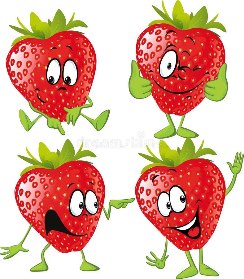 Historieta de la fresa con las manos aisladas stock de ilustración