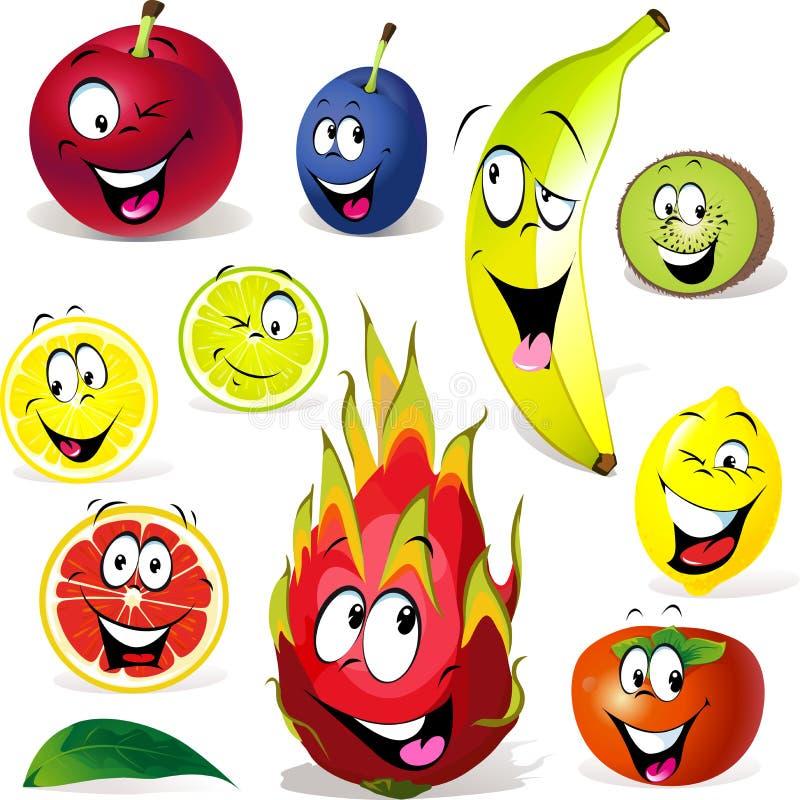 Historieta de la fruta con muchas expresiones ilustración del vector