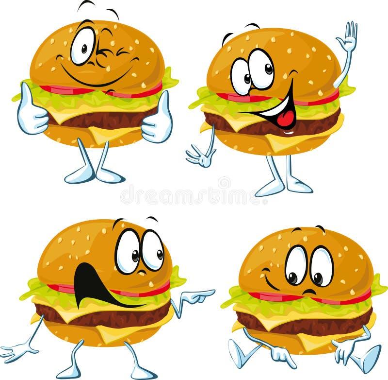 Historieta de la hamburguesa con el gesto de la cara y de mano - vector ilustración del vector