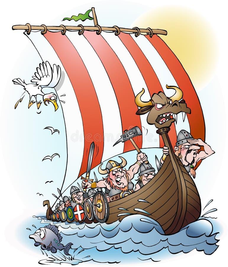 Historieta de la incursión de Vikingos stock de ilustración