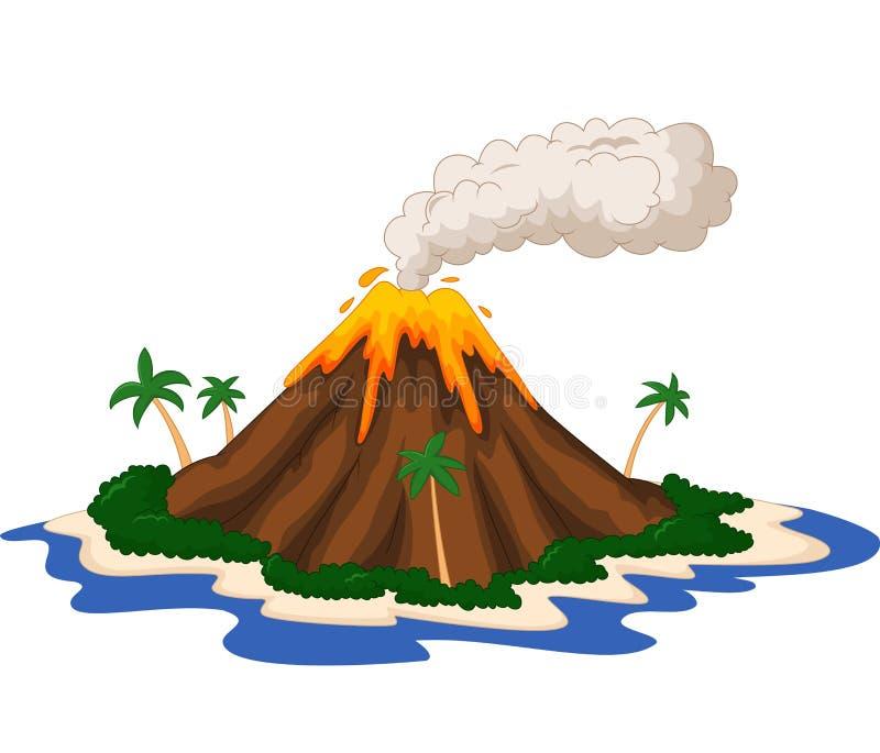 Historieta de la isla volcánica stock de ilustración