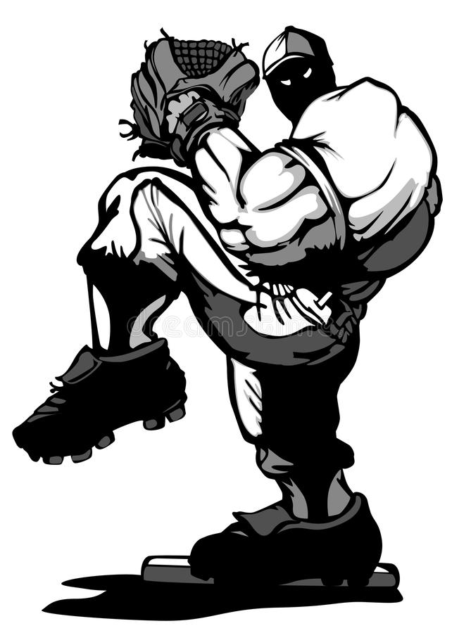 Historieta de la jarra del jugador de béisbol stock de ilustración