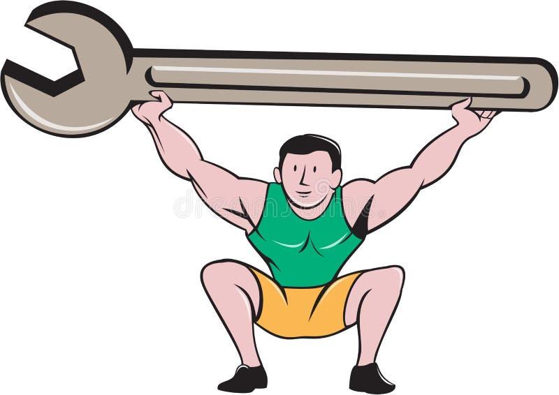 Historieta de la llave de Lifting Giant Spanner del mecánico stock de ilustración