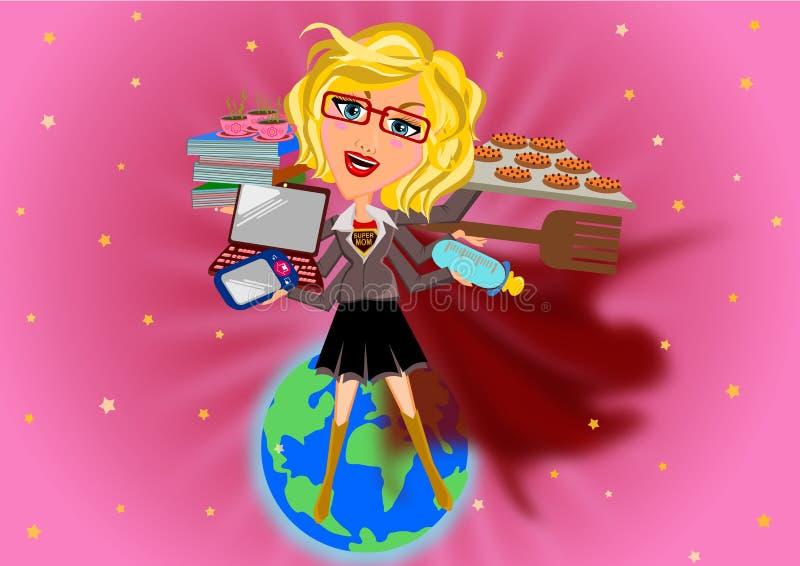 Historieta de la mamá del superhéroe stock de ilustración