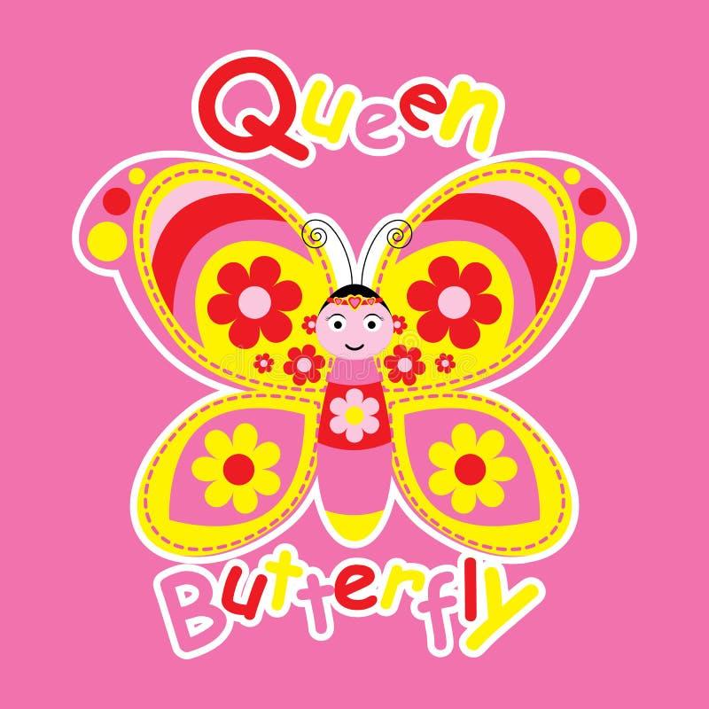 Historieta de la mariposa linda de la reina stock de ilustración