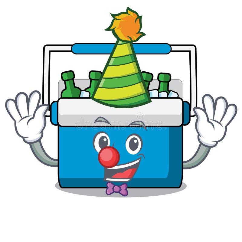 Historieta de la mascota del bolso del congelador del payaso ilustración del vector