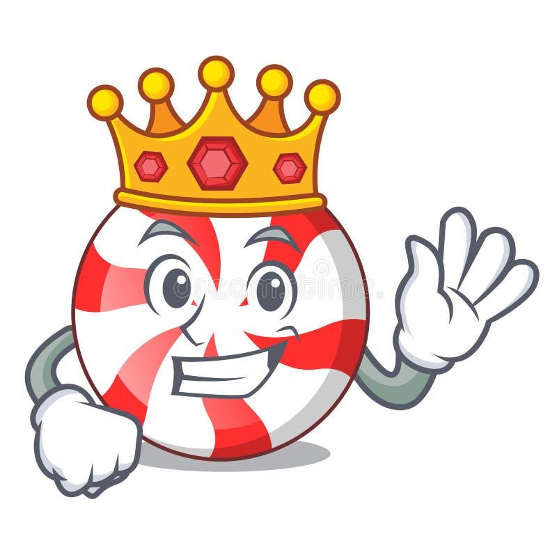 Historieta de la mascota del caramelo de hierbabuena del rey ilustración del vector