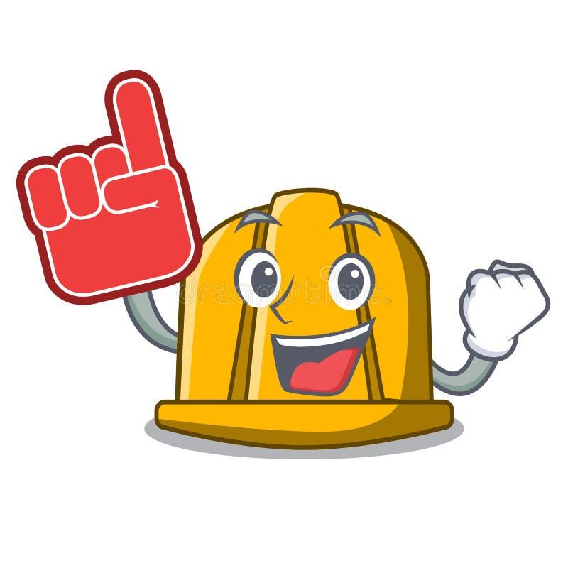 Historieta de la mascota del casco de la construcción del finger de la espuma ilustración del vector