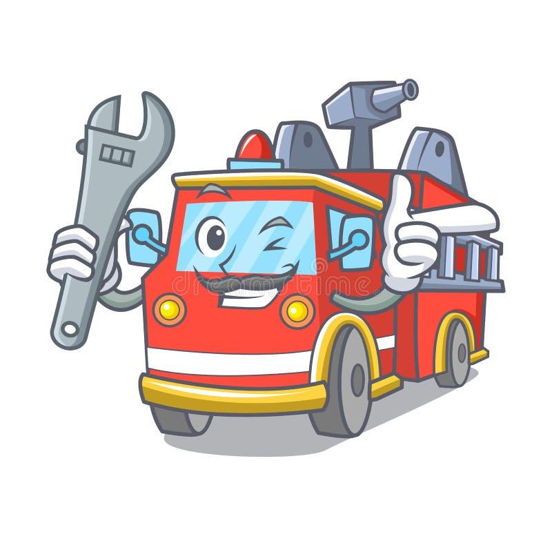 Historieta de la mascota del coche de bomberos del mecánico libre illustration