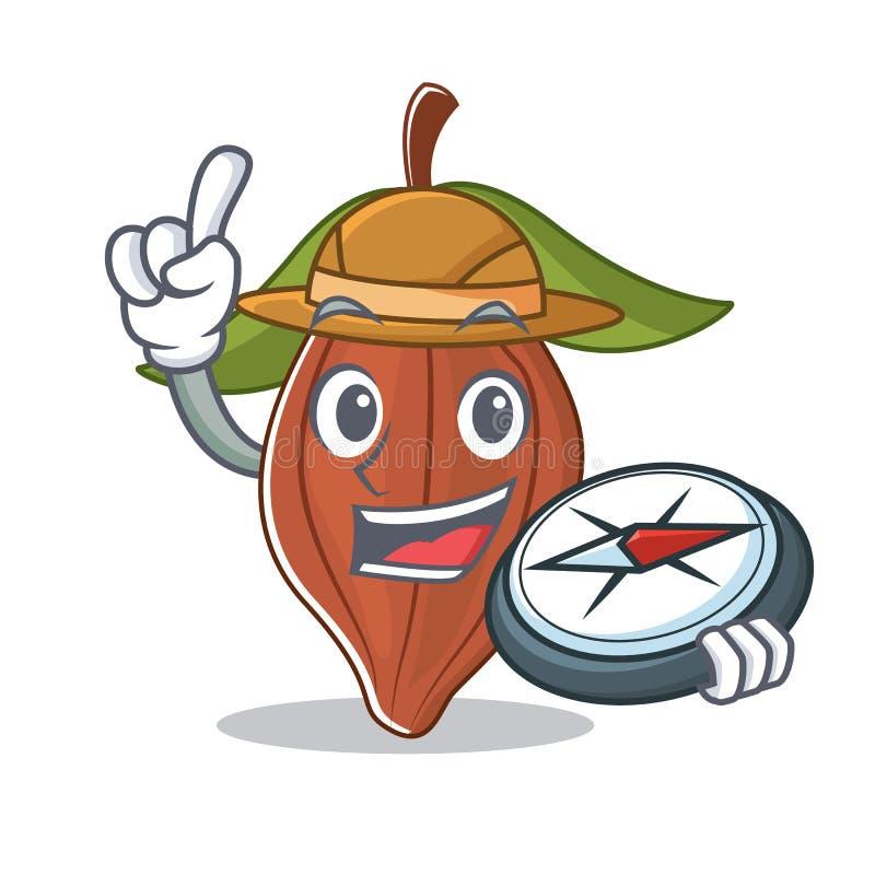 Historieta de la mascota de la haba del cacao del explorador stock de ilustración
