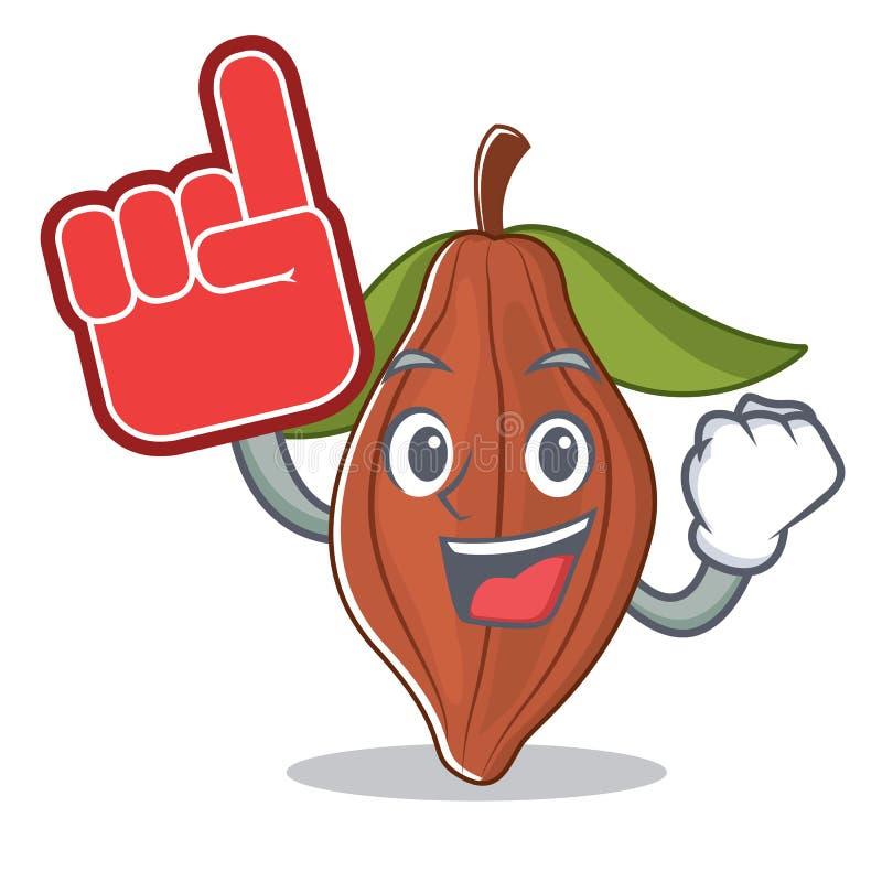 Historieta de la mascota de la haba del cacao del finger de la espuma stock de ilustración