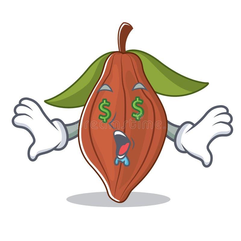 Historieta de la mascota de la haba del cacao del ojo del dinero ilustración del vector