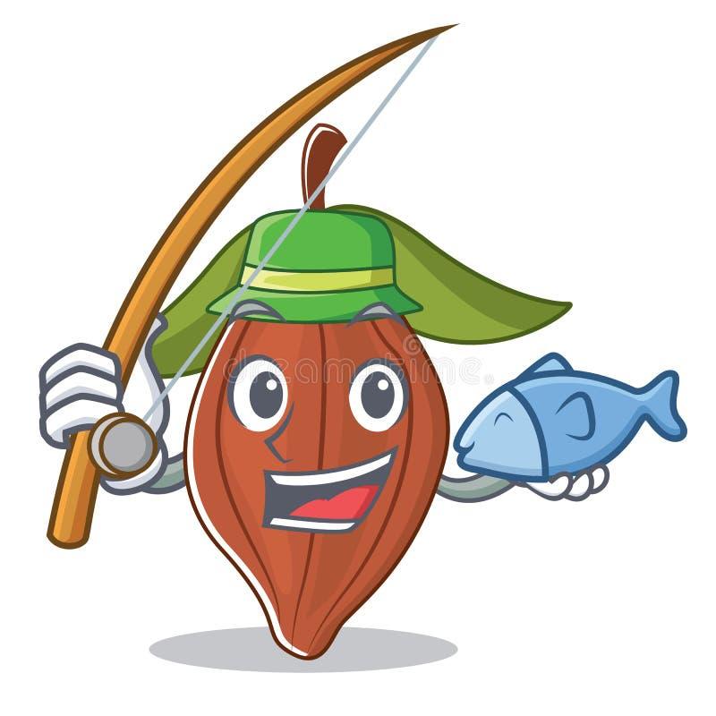 Historieta de la mascota de la haba del cacao de la pesca stock de ilustración