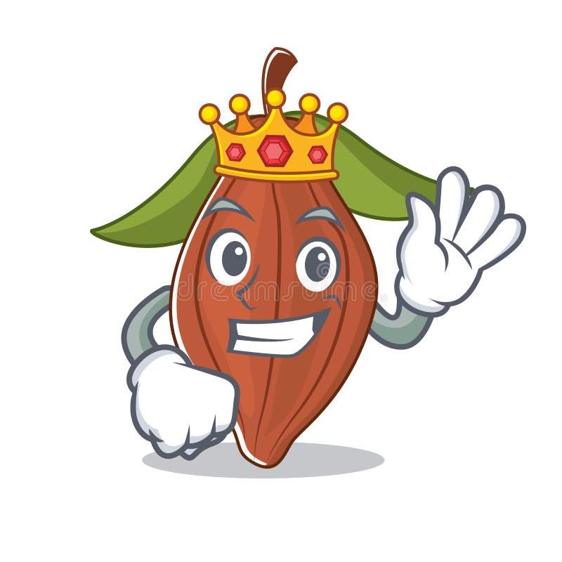 Historieta de la mascota de la haba del cacao del rey ilustración del vector