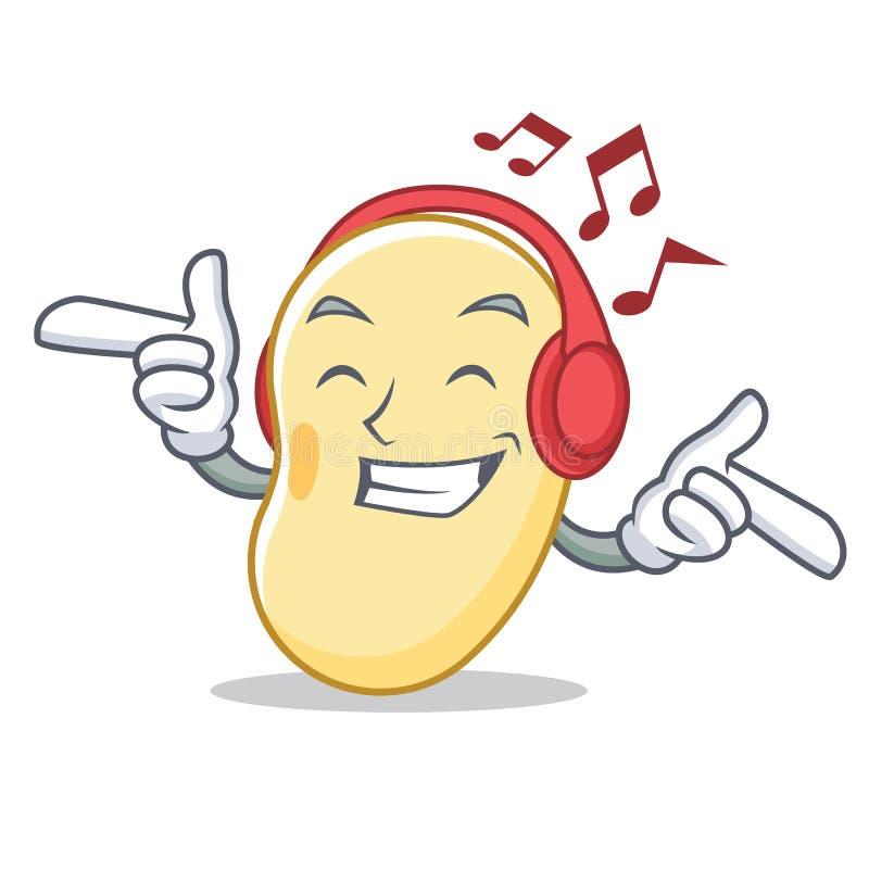 Historieta de la mascota de la haba de la soja de la música que escucha stock de ilustración
