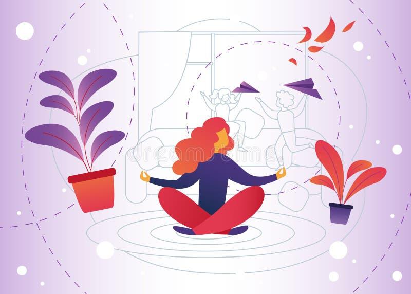 Historieta de la meditación del ejemplo del vector en casa ilustración del vector