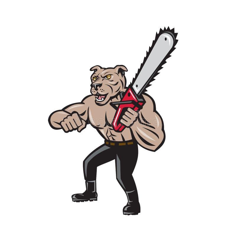 Historieta de la motosierra de Tree Surgeon Arborist del leñador del perro libre illustration