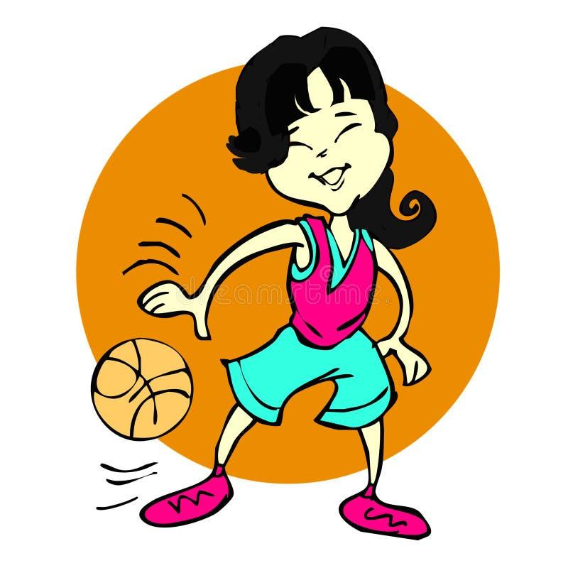 Historieta de la muchacha asiática del baloncesto o de la mujer joven ilustración del vector