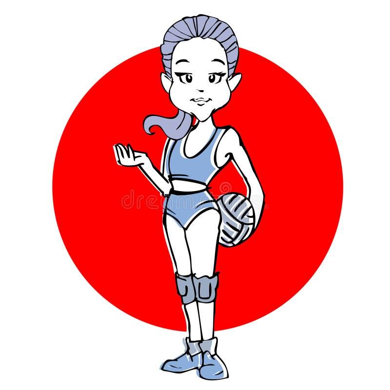 Historieta de la muchacha del voleibol o de la mujer joven ilustración del vector