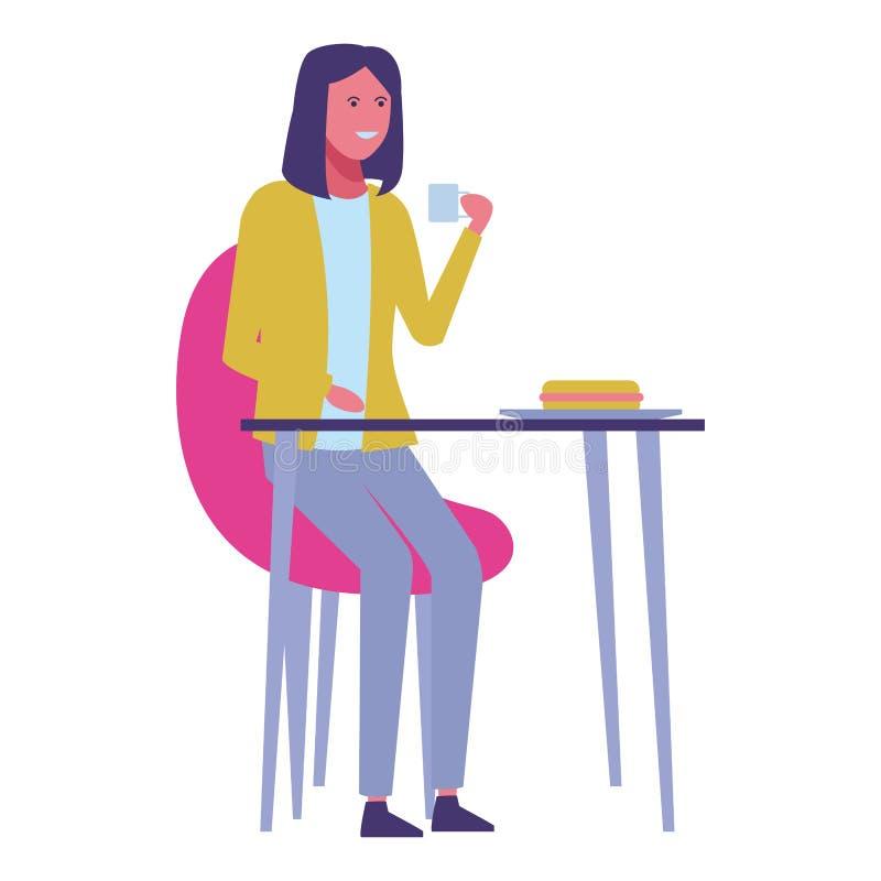 Historieta de la mujer joven stock de ilustración