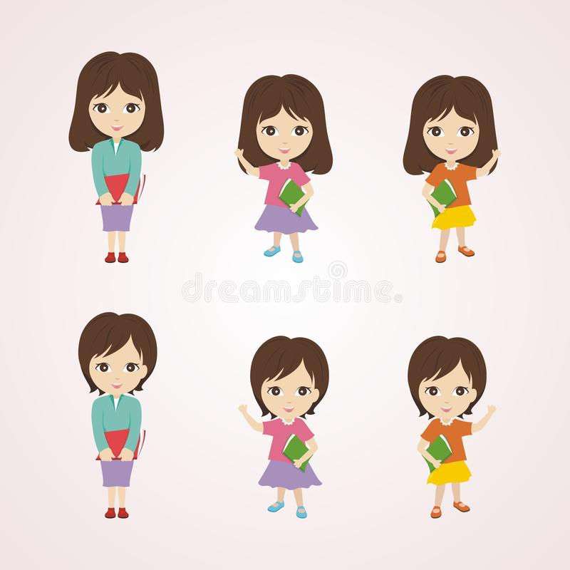 Historieta de la niña con el carácter precioso y lindo libre illustration