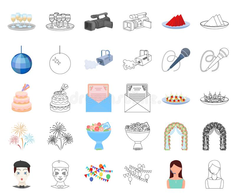 Historieta de la organización del acontecimiento, iconos del esquema en la colección determinada para el diseño Web de la acción  libre illustration