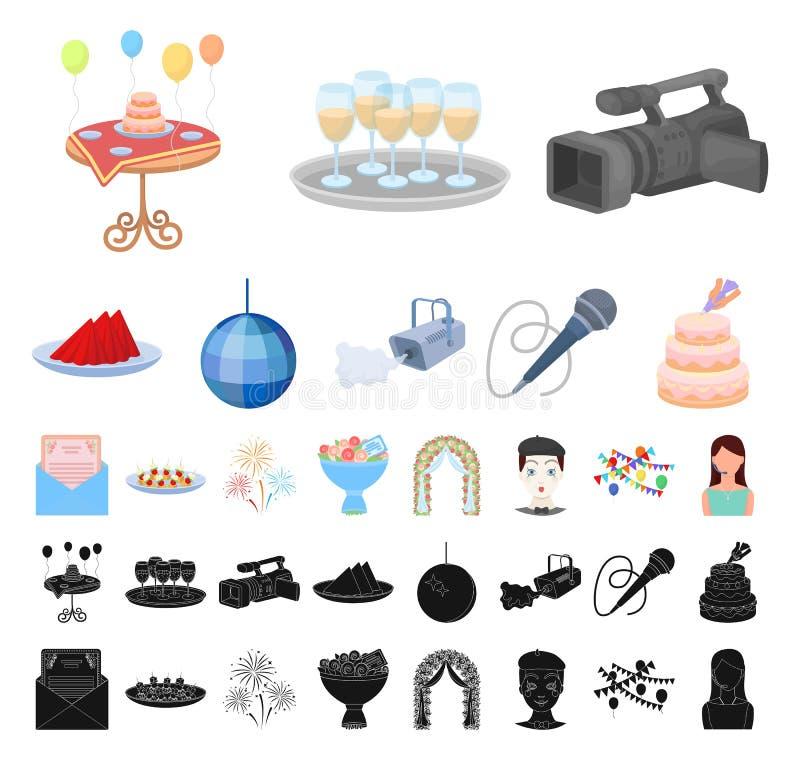 Historieta de la organización del acontecimiento, iconos negros en la colección determinada para el diseño Web de la acción del s ilustración del vector
