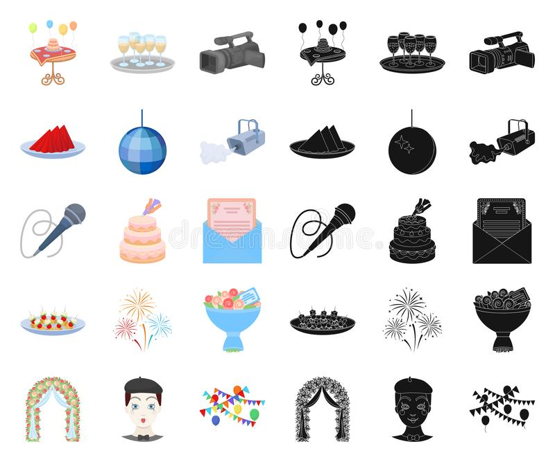 Historieta de la organización del acontecimiento, iconos negros en la colección determinada para el diseño Web de la acción del s libre illustration