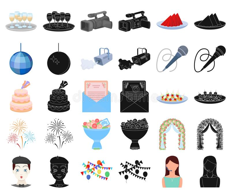 Historieta de la organización del acontecimiento, iconos negros en la colección determinada para el diseño Web de la acción del s stock de ilustración