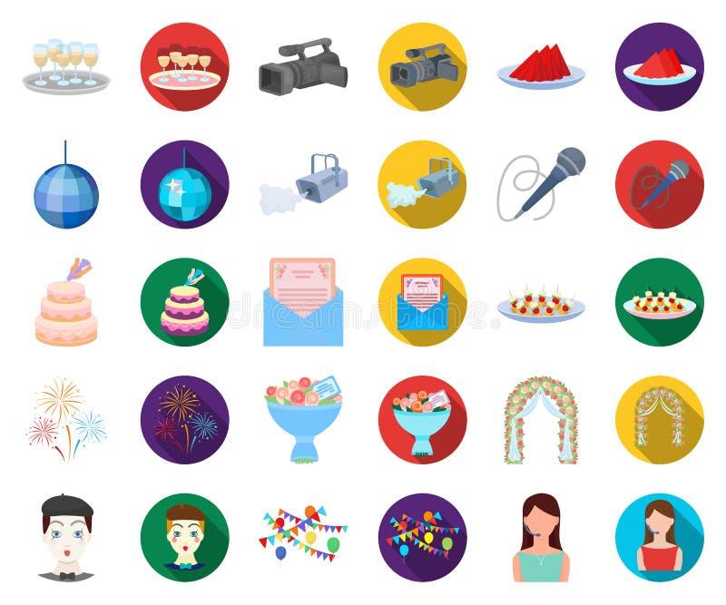 Historieta de la organización del acontecimiento, iconos planos en la colección determinada para el diseño Web de la acción del s stock de ilustración