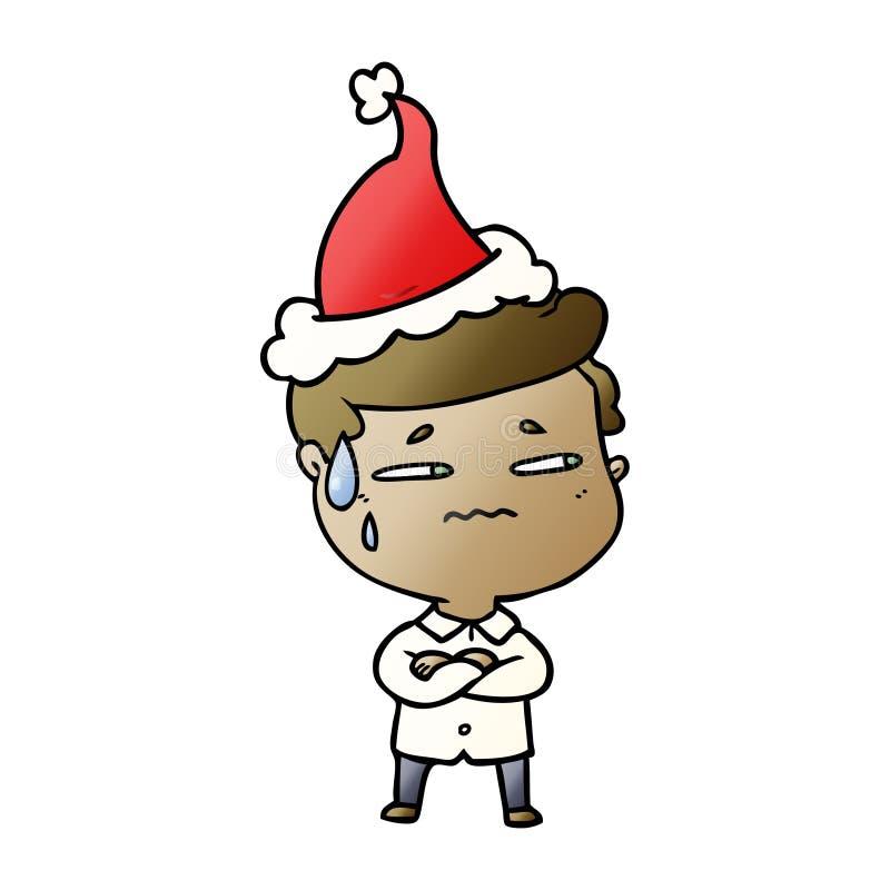 historieta de la pendiente de un hombre ansioso que lleva el sombrero de santa libre illustration