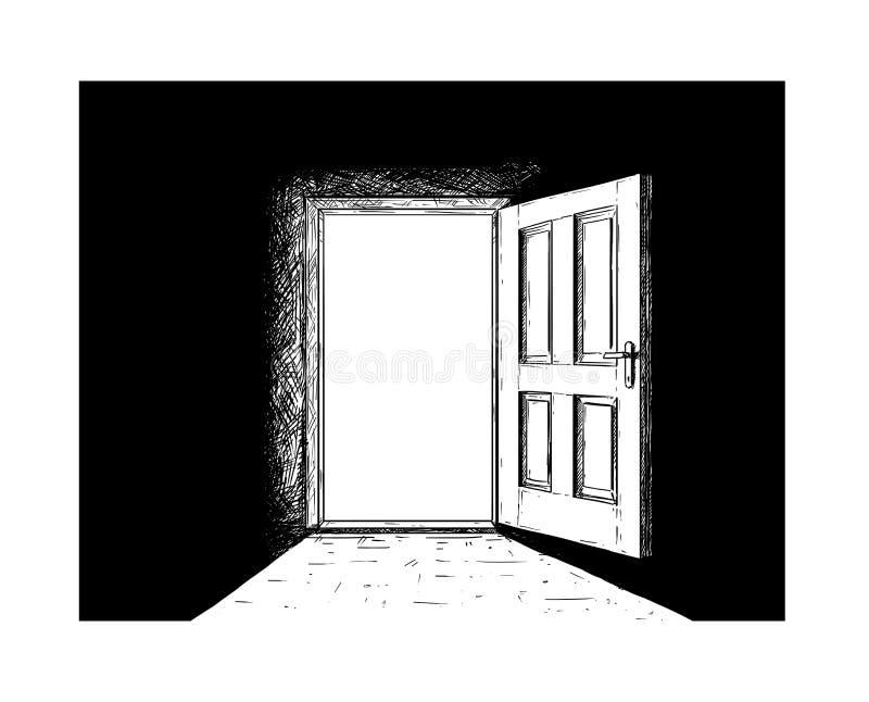 Historieta de la puerta de madera abierta de la decisión y luz que viene de ella libre illustration