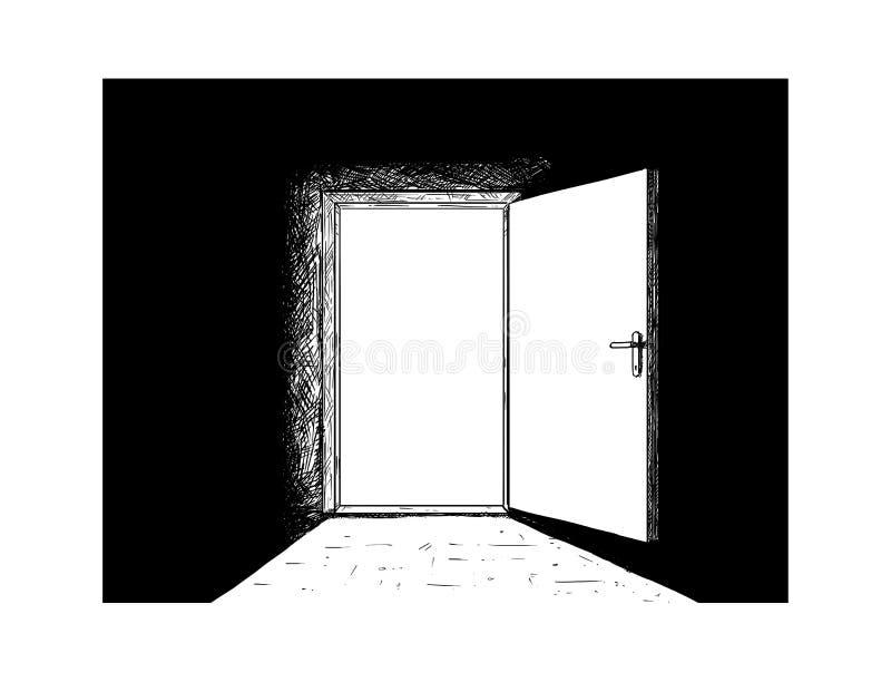 Historieta de la puerta de madera abierta de la decisión y luz que viene de ella stock de ilustración