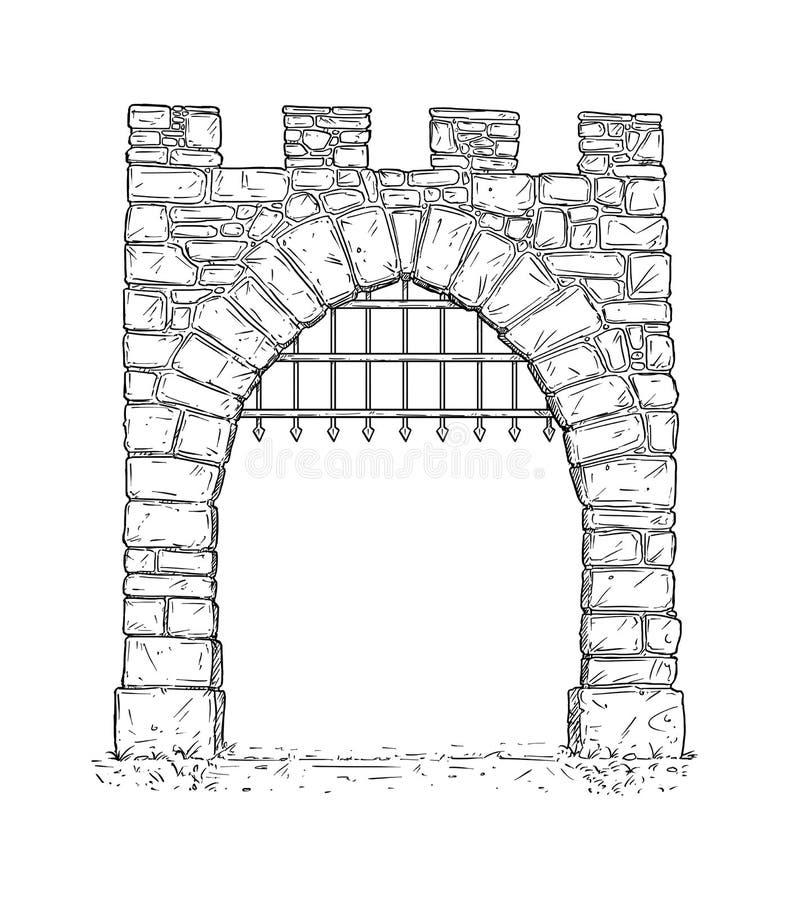Historieta de la puerta medieval de la decisión de la piedra abierta con las barras de hierro stock de ilustración