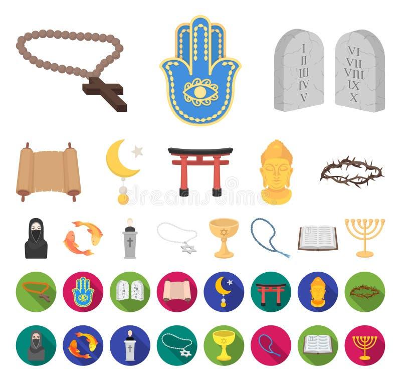 Historieta de la religión y de la creencia, iconos planos en la colección determinada para el diseño Accesorios, web de la acción libre illustration