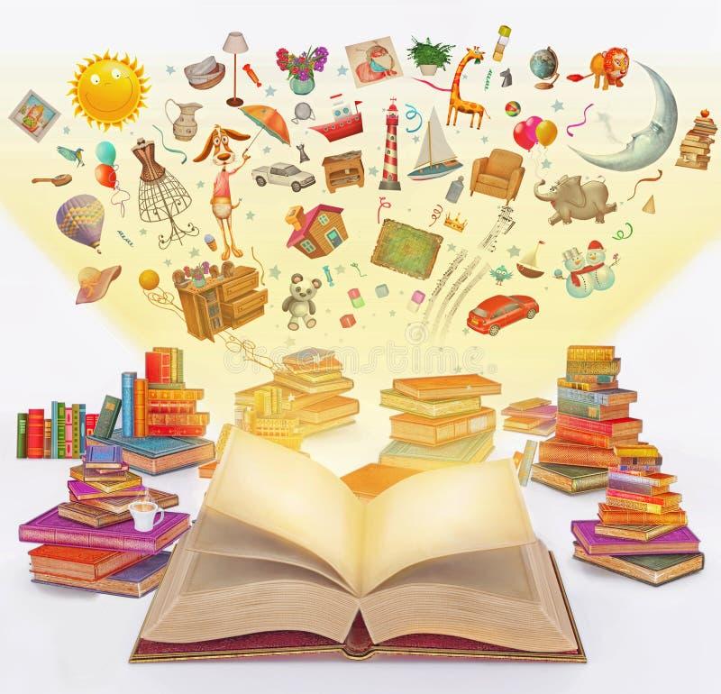 Historieta de la representación del ejemplo de muchos libros coloreados multi del vintage ilustración del vector