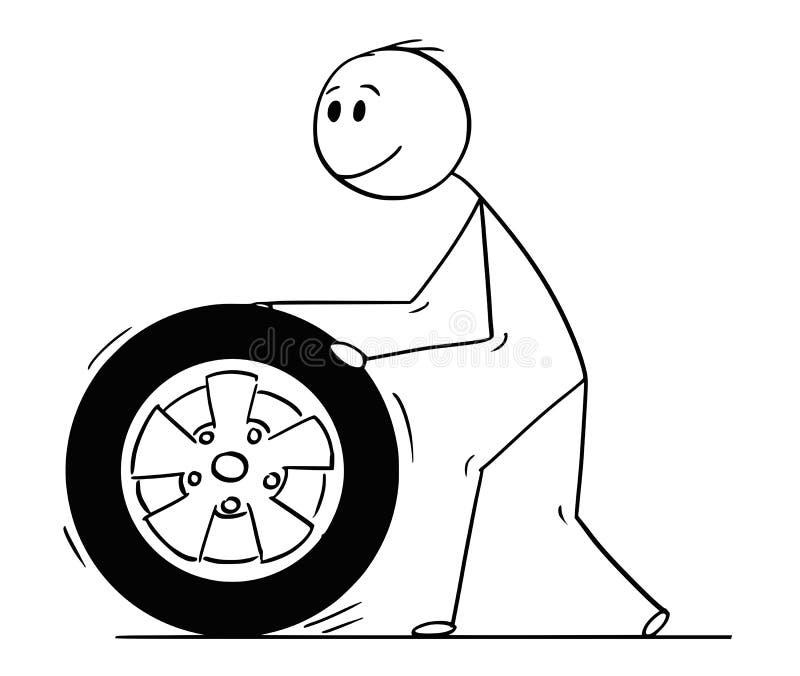 Historieta de la rueda y del neumático de coche del balanceo del hombre ilustración del vector
