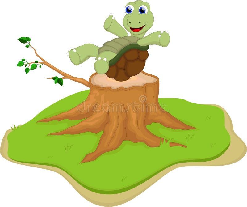Historieta de la tortuga en tocón de árbol stock de ilustración