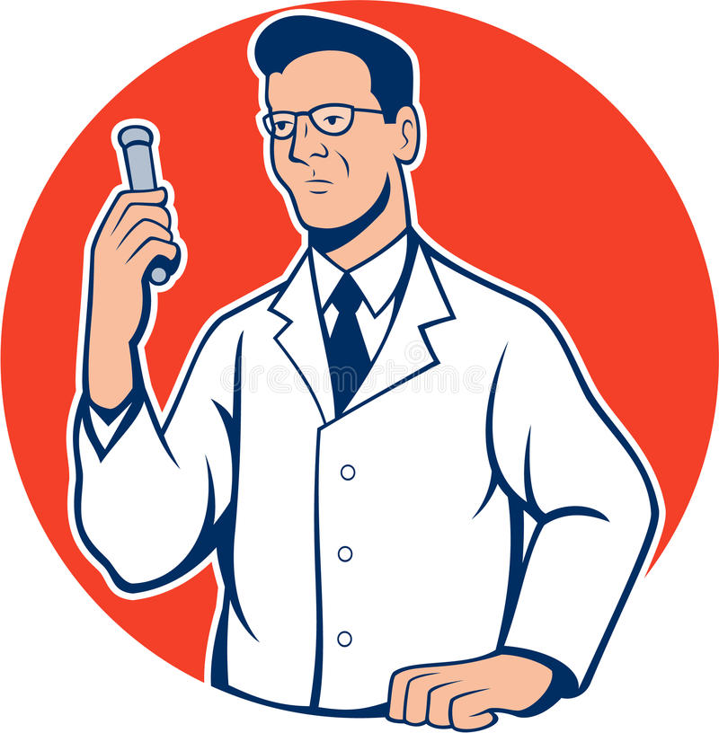 Historieta de Lab Researcher Chemist del científico libre illustration