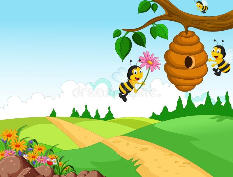 Historieta de las abejas que sostiene la flor y una colmena con el fondo del bosque ilustración del vector