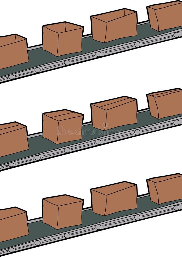 Cajas en las bandas transportadoras stock de ilustración