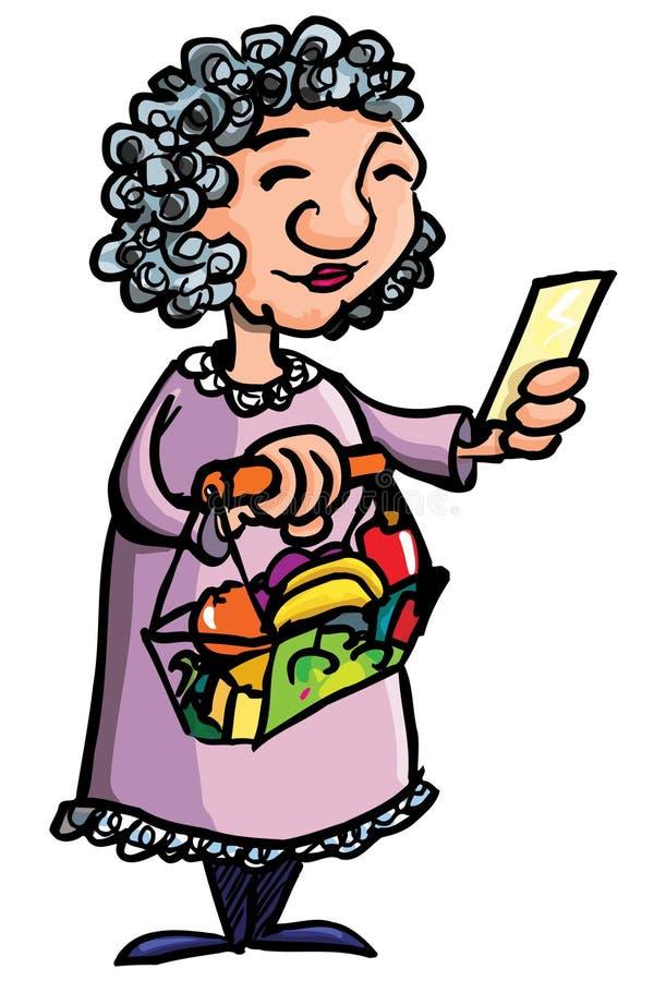Historieta de las compras de la señora mayor ilustración del vector