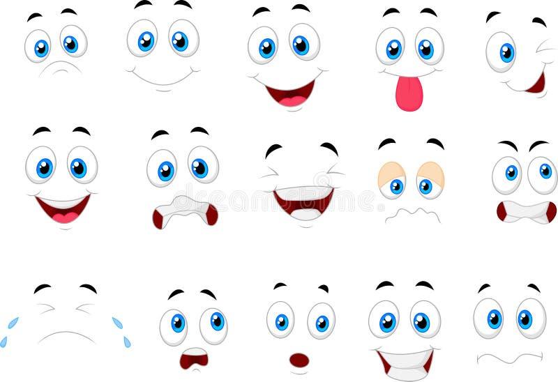 Historieta de las diversas expresiones de la cara ilustración del vector