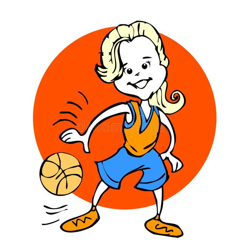 Historieta de las muchachas del baloncesto o de la mujer joven stock de ilustración
