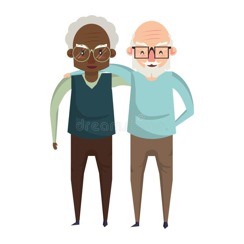 Historieta de los abuelos de los mayores de los abuelos vieja ilustración del vector
