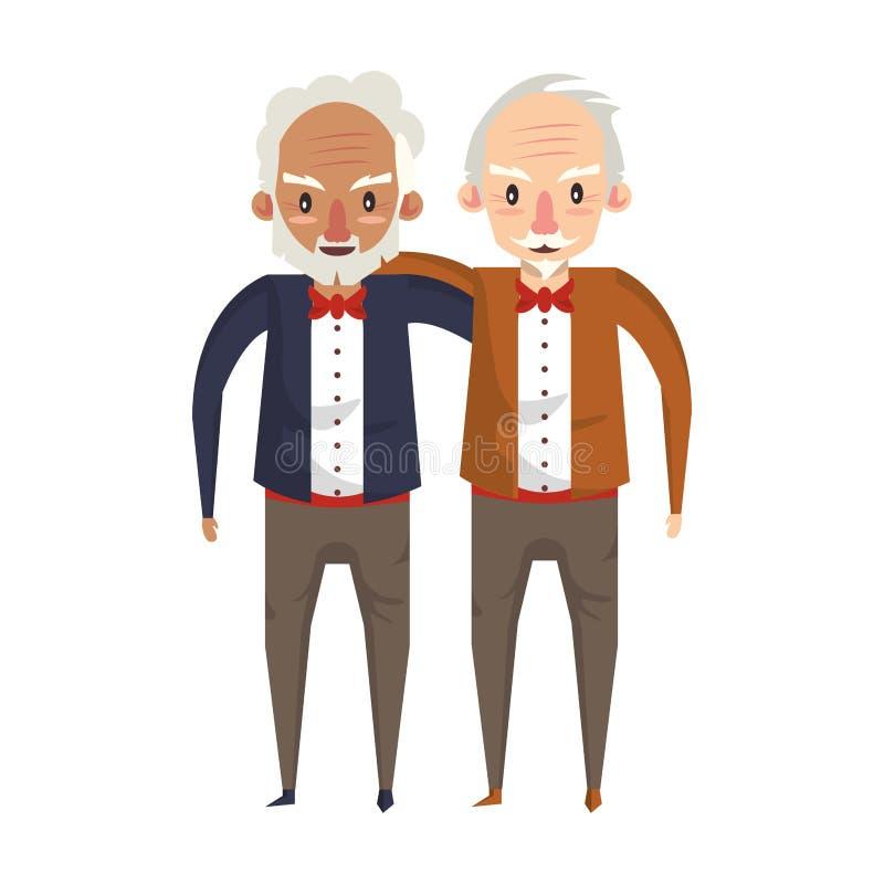 Historieta de los abuelos de los mayores de los abuelos vieja stock de ilustración